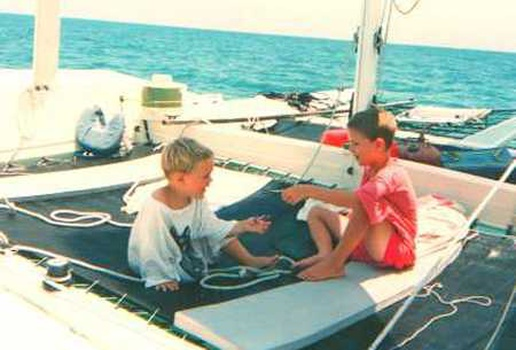 Two boys at deck of the Strider