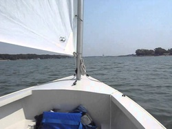 Sailing by Monsastery Point Lake Mac in August Core Sound 15