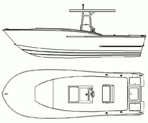Center Console Fishing Boat Drawing