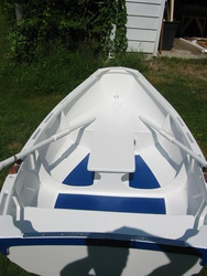 Non-skid blue inside. The fore & aft rowing seat is just great!