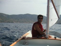 On the helm of Cat Ketch 17