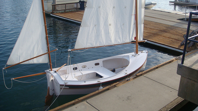 Houdini. Serious, a sailing dinghy with space to sleep two or daysail four